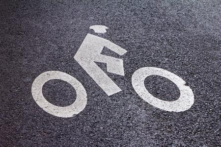 Bike Lane Symbol Painted On Street In New York City Stock Photo