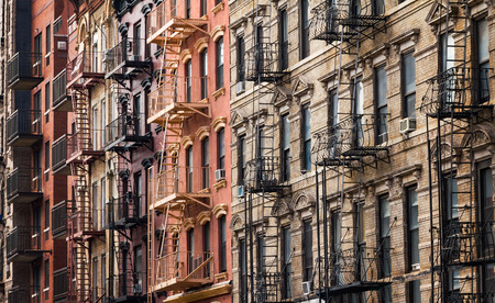old new york: Buildings along 3rd Street near Tompkins Square Park in the East Village of Manhattan, New York City