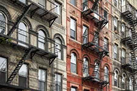 Old Brick Buildings with Fire Escapes in the East Village of Manhattan, New York City