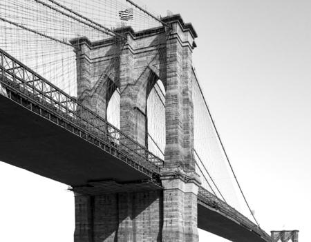 Brooklyn Bridge in Black and White New York City Stock Photo