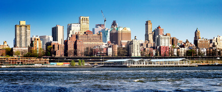 riverfront: Downtown Brooklyn panorama skyline and riverfront park seen from Manhattan in New York City Stock Photo