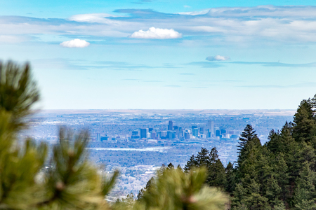 denver buildings: View of downtown Denver Colorado skyline from the top of Lookout Mountain Road in the foothills
