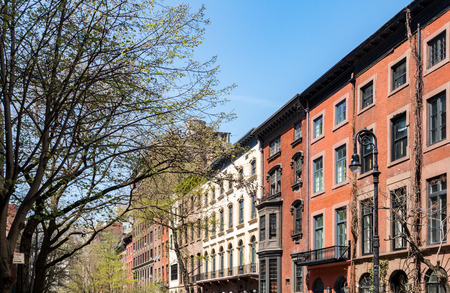 urban scenics: Historic buildings on a street in the Greenwich Village neighborhood of Manhattan, New York City Stock Photo