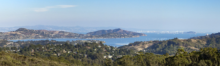 Panoramic view of the San Francisco bay area seen from an overlook in the hills of Marin County, California