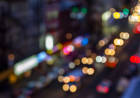 Abstract night lights from a busy New York City street scene blurred background effect