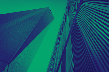 Blue and green modern buildings background New York City Stock Photo