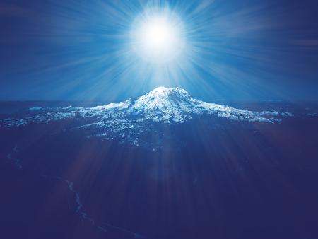 Star Light shining above blue mountain landscape