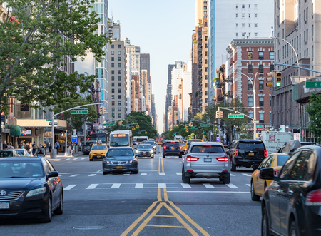 NEW YORK CITY - CIRCA 2018: Rush hour traffic backs up along 3rd Avenue in the East Village of Manhattan in New York City. Editorial
