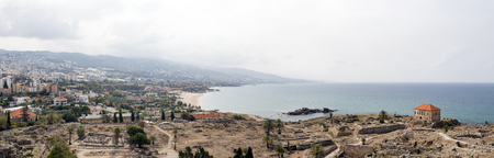 Panoramic view of the ancient ruins at Byblos, Lebanon along the Mediterranean Sea Foto de archivo