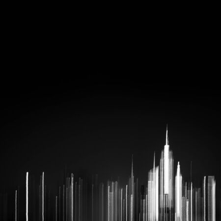 Black and white New York City skyline buildings with empty sky in background NYC