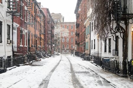 Snowy winter scene on Gay Street in the Greenwich Village neighborhood of New York City NYC