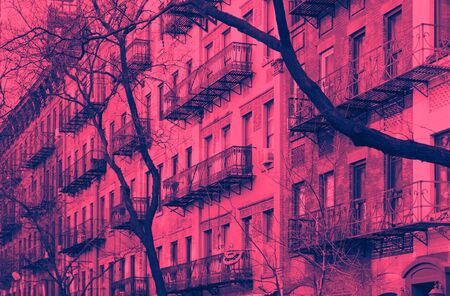 Block of old buildings in the Upper East Side neighborhood of Manhattan in New York City in pink and blue duotone color effect Reklamní fotografie