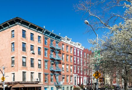 Corner of 10th Street and Avenue A on a sunny spring day in the East Village of Manhattan in New York City