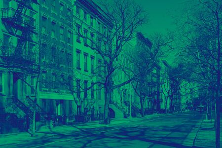 Colorful view of 10th Street in the East Village neighborhood of New York City with green and blue duotone color effect Reklamní fotografie