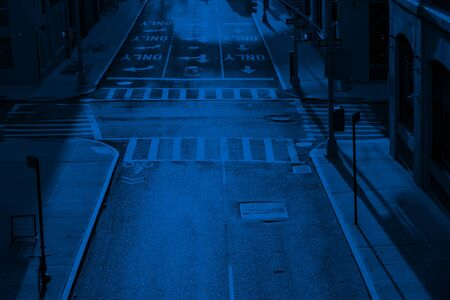 Overhead view of the empty intersection at Pearl and Prospect Streets in Brooklyn New York City with blue color overlay effect