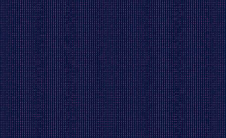 Random pattern of pink and blue binary code with ones and zeros on a computer screen