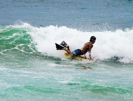 boy body boarding  Banco de Imagens