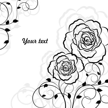 rose bouquet: Simple floral background in black isolated on white background with place for your text.