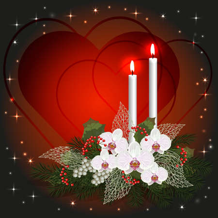 burning love: Valentines day greeting card with love hearts, decorations and burning candles.