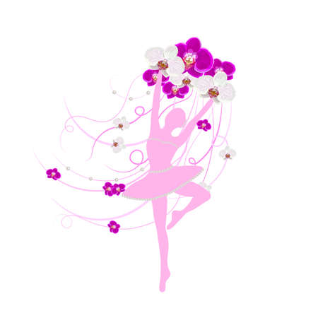 Tender ballerina holding an arrangement of orchid flowers with ribbons