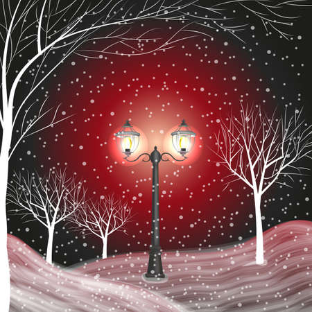 tranquil scene on urban scene: Winter background with vintage lantern in a snow covered park