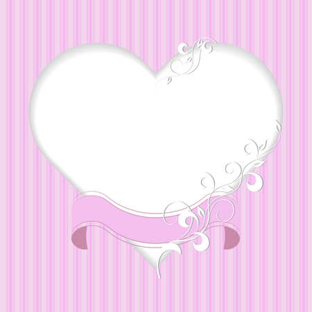Vintage frame in shape of a heart with ribbon and plant pattern on pink background
