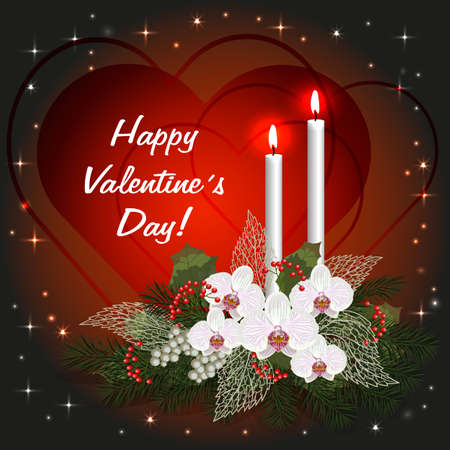 burning love: Valentines day greeting card with love hearts, decorations and burning candles Illustration