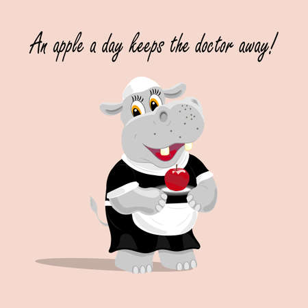 keeps: Vector illustration with a cute hippo waiter holding an apple on a plate. An apple a day keeps  the doctor away lettering