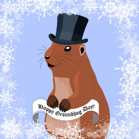 marmot: Groundhog day greeting card with cute marmot in black hat on winter background Illustration