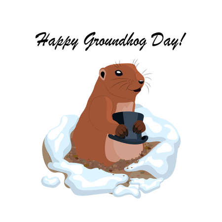 Vector illustration with a cute groundhog holding a black hat out of a hole. Happy Groundhog day lettering Illustration