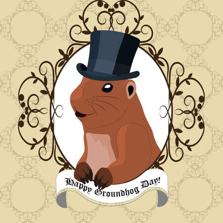 marmot: Groundhog day greeting card with cute marmot in black hat sitting in vintage frame Illustration