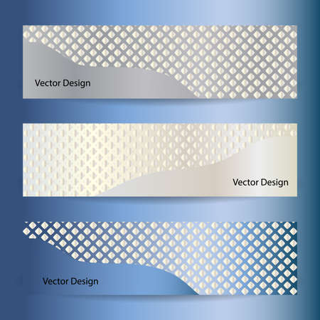 bussiness card: Set of vector banners. Metal background with mosaic pattern.  Modern business stylish design. Illustration