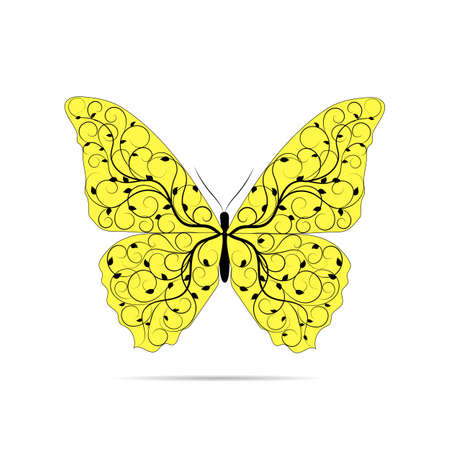 yellow butterfly: Beautiful yellow butterfly with floral pattern isolated on white background.