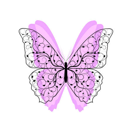 butterfly isolated: Beautiful butterfly with floral pattern and pink wings isolated on white background. Stock Photo