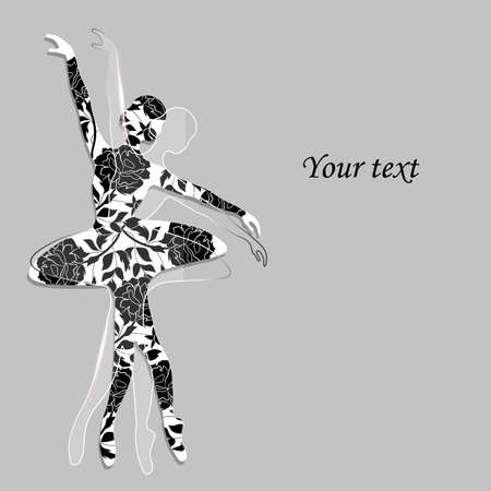 performing: Floral pattern in a shape of a ballerina with glass one on gray background.