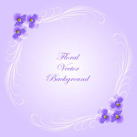 violet flowers: Floral vector background with vintage frame and violet flowers for use in your design. Vector illustration.