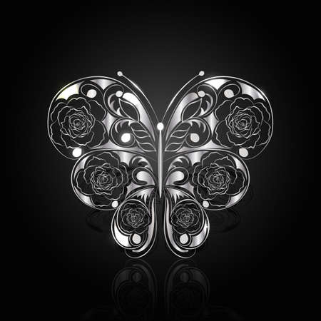 black banner: Silver abstract butterfly with reflection on black background. Illustration