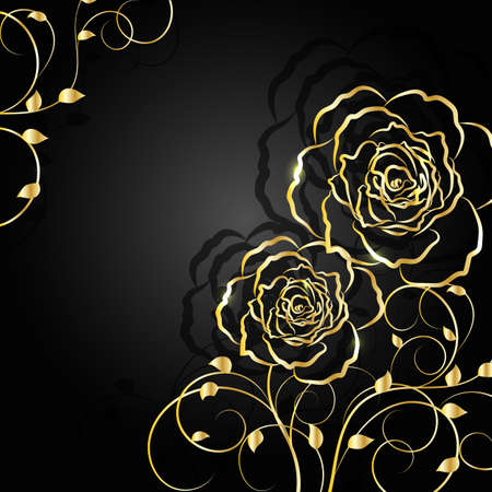 abstract rose: Gold flowers with shadow on dark background. Vector illustration.