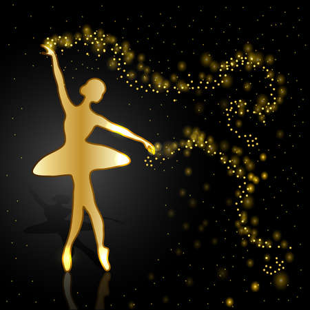 women body: Gold ballerina holding a whirl with magic shine dust on dark background.