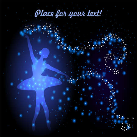 Greeting card with tender ballerina holding a whirl with stars and circles.