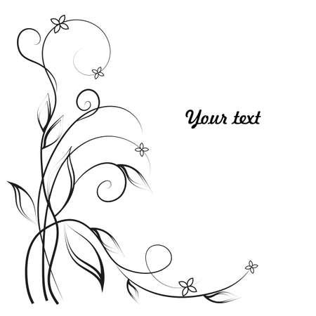 Eenvoudige florale achtergrond in zwart en wit met plaats voor uw tekst.