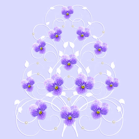 ornaments floral: White decorative tree with violet flowers and pearls in vintage style for use in your design. Floral vector background. Illustration