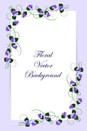 Floral vector card with violet flowers on blue background for use in your design. Vector illustration. Çizim