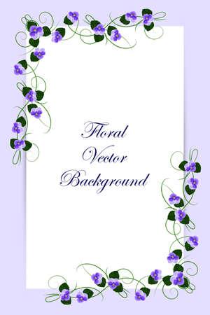 Floral vector card with violet flowers on blue background for use in your design. Vector illustration. Ilustração
