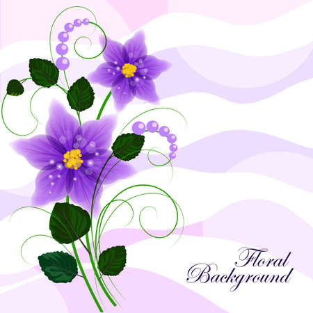 green flowers: Floral vector background with violet flowers for use in your design. Vector illustration.