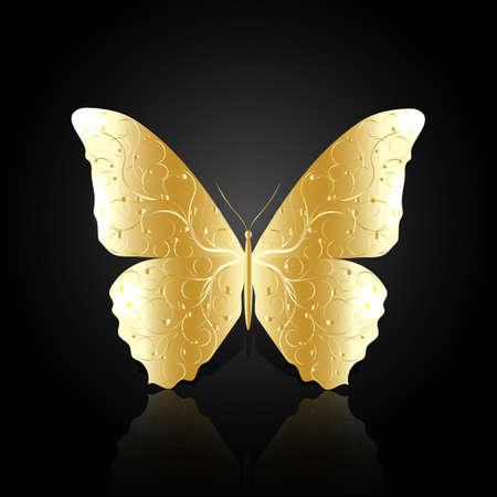 Gouden abstracte vlinder met bloemmotief op zwarte achtergrond met reflectie.