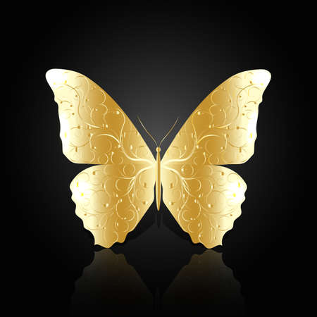 Gold abstract butterfly with floral pattern on black background with reflection.