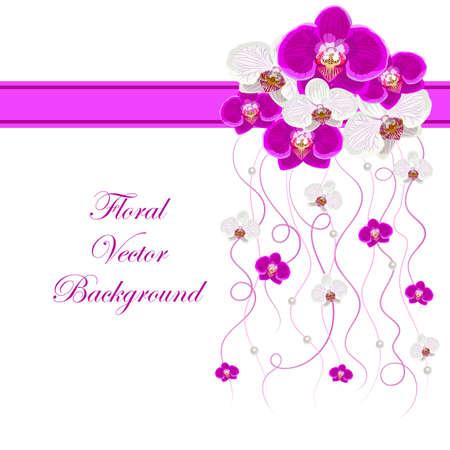 Arreglo de flores de orquídeas y cintas de color rosa con perlas para la tarjeta de felicitación o diseño de la invitación. Fondo floral del vector.