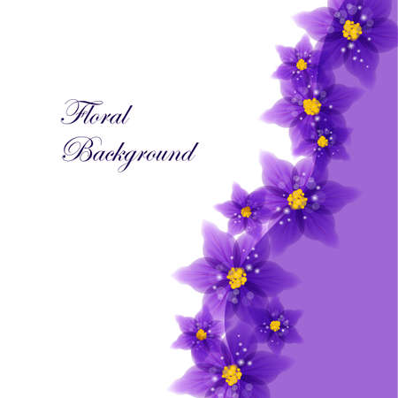 Floral vector background with beautiful violet flowers for use in your design. Vector illustration.