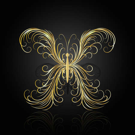 gold swirl: Gold swirl pattern in shape of a butterfly on dark background with reflection. Illustration